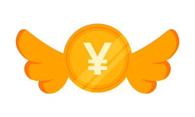Vector illustration of Japanese Yen coin with Wings. Flying Money Concept.