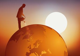 terre - concept - croissance - arrosoir - globe - monde - mondiale - cultiver - planète - écologie