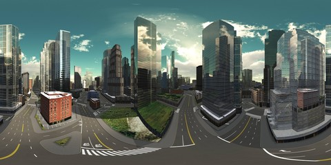 HDRI, Equirectangular projection, Spherical panorama., Cityscape, Environment map