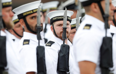 Royal Navy personnel practice their ceremonial duties ahead of Prince Harry and Meghan Markle's wedding, in Fareham