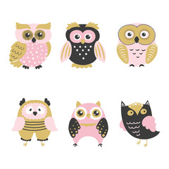 Set of cute cartoon owls isolated on white. Vector illustration.