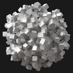 big sphere formed by random cubes