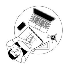 aerial view of man working with computer and architecture vector illustration design