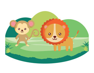 cute tiger and monkey on the grass over white background, colorful design. vector illustration