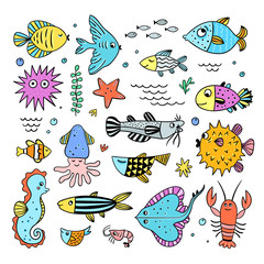 Cute sea creatures set. Fishes and sea animals underwater life illustrations