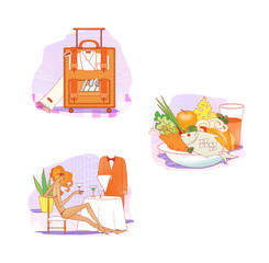 Etiquette. Clothes for rest and travel. Suitcase with clothes and dishes. A girl in a bathing suit is sitting at a table in a restaurant. Plate with food from the buffet.
