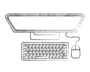 top view computer monitor keyboard mouse vector illustration sktech