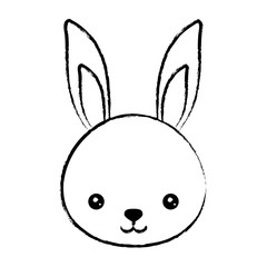 cute rabbit icon over white background, vector illustration