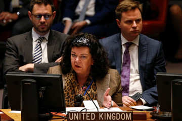 UK's Ambassador to the United Nations, Karen Pierce, speaks during a meeting of the United Nations Security Council on Syria at the U.N. headquarters in New York