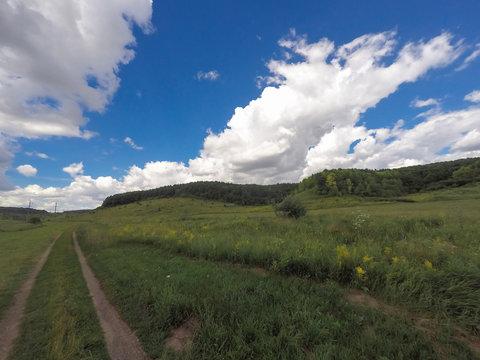 Green fields summer hike