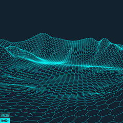 Foto op Plexiglas Zwart Abstract vector landscape background. Cyberspace grid. 3d technology vector illustration.