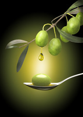 Drop of olive oil falling from an olive branch on a spoon