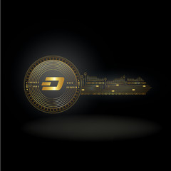 Dash Cryptocurrency Coin Private Key Background