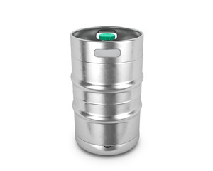 Metal beer keg on a white background. 3D illustration