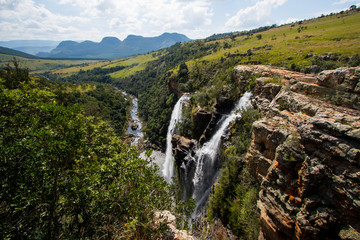 View from the top of the Lisbon falls in the Blyde River Canyon area, Mpumalanga province, South Africa