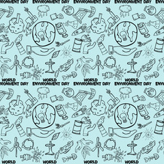 seamless pattern_2_contour of elements for design various objects of human activities the theme for world environment day, the background is isolated