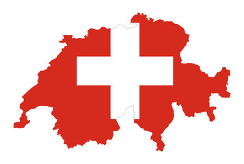 Flag of Switzerland in country silhouette. Landmass and borders as outline, within the banner of the nation. Red flag with white cross. Isolated illustration on white background. Vector.