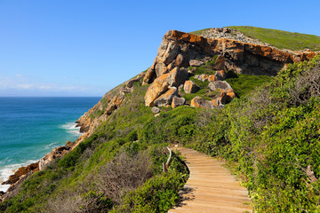 Wooden path in the Robberg Nature Reserve near Plettenberg Bay on the Garden Route, Western Cape, South Africa