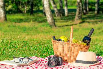 romantic picnic for lovers - basket with wine and fruit on a tablecloth in the park