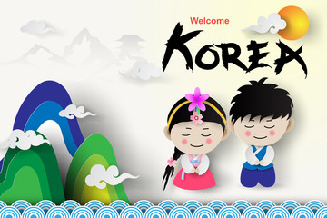 Paper art of Welcome Korea traditional  boy and girl in korean costume  with landmarks mountain palace.vector illustration