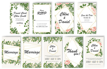 set Wedding Invitation with peonies, flowers and green leaves. rsvp is a modern card design. natural, Botanical, elegant vector illustration