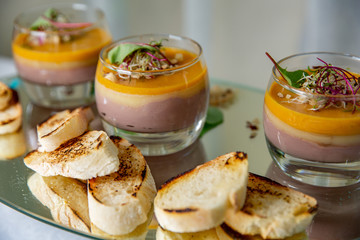 baguette with French layer pate. chicken pate in glass and toast bread at the restautant