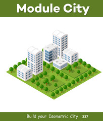 Modern 3D city isometric