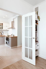 Scandinavian interior design. White grey studio apartment room organization