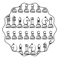 circular frame with chess pieces pattern over white background, vector illustration