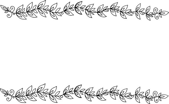 Doodle frame with leaf branches. Coloring page for adults. Vecto