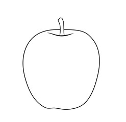 Vector illustration, isolated apple fruit in black and white colors, outline hand painted drawing