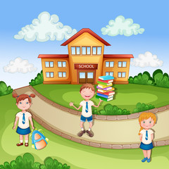 School building ilustration with happy children