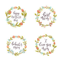 Mother's Day lettering and wreath