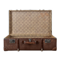 Retro suitcase with the lid open isolated on white background.