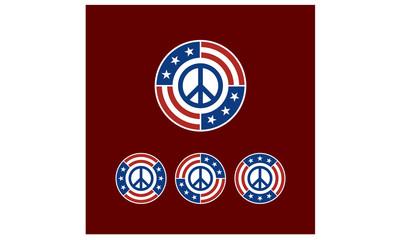 Round American Flag Ribbon with Peace Symbol Logo Design inspiration