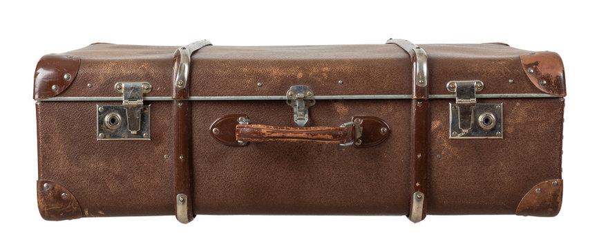 Retro suitcase isolated on white background