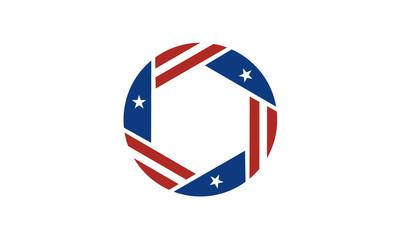Shutter Lens with American Flag Ribbon for Photography Logo Design inspiration