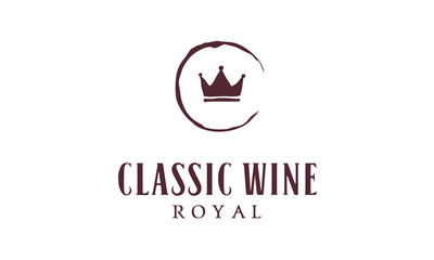 Classic Hand Drawn Wine Stain and Crown logo design  inspiration
