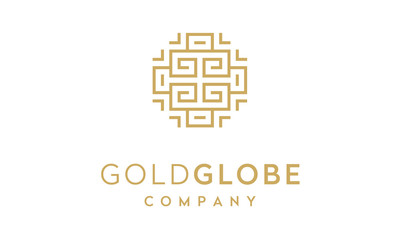 Globe with Initials GG asian/greek frame border ornament logo design inspiration