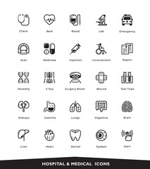 Medical and Hospital Set vector line icons, sign and symbols, with elements for mobile concepts and web apps. Collection modern infographic