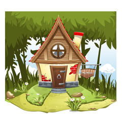 """Cartoon Fairy House on the edge of forest, on a green hill with a signboard """"My House""""."""