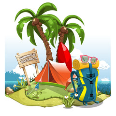 "A cartoon green hill near the sea with palm trees, a tent, backpack and a surfboard on the background of a signboard with an inscription ""Summer Vacation"""