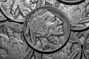 indian head buffalo nickels close up