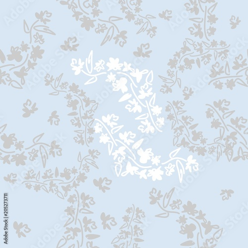 Floral seamless pattern can be used for wallpaper, website background, textile printing. Hand drawn endless vector illustration of flowers on light ...