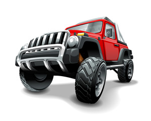 Extreme red Off Road Vehicle SUV. Isolated vector illustration.