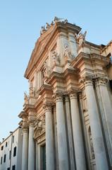 The facade of I Gesuiti (Church of Santa Maria Assunta) at sunset, Venice Italy