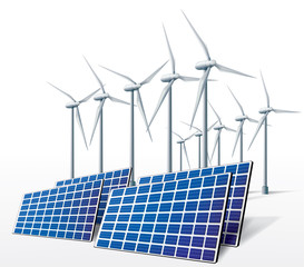 Solar panel and wind turbine on a white