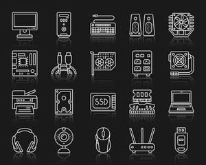 Computer simple white line icons vector set