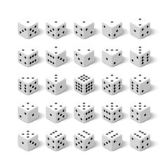24 white isometric 3d dice set. All combinations for gambling game