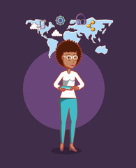 cartoon woman with world map and social media related icons over purple background, colorful design. vector illustration